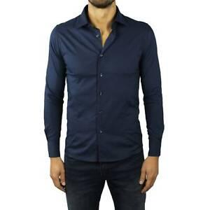 Camicia-Uomo-Blu-Slim-Fit-Manica-Lunga-Cotone-Classica-Sartoriale-Elegante