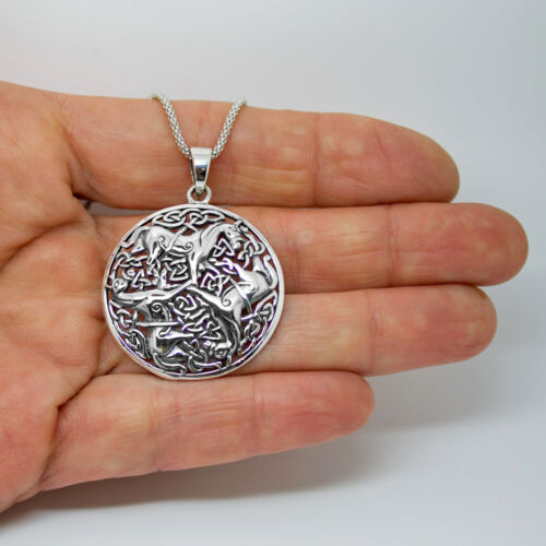 Details about  /925 solid Sterling Silver Celtic Trinity of Horses pendant