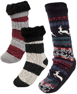 a4bfe55c875c4 Details about Mens Cosy Slipper Socks Warm Lined Knitted Bed Socks Booties  Xmas Gift One Size