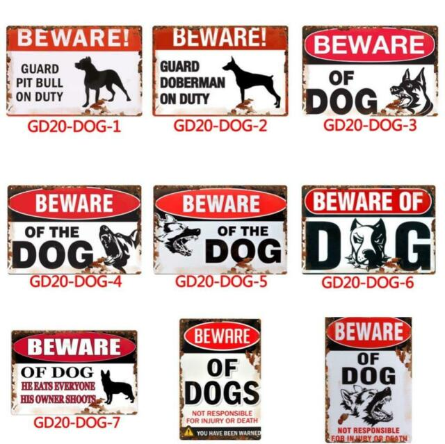 Metal Tin Warning Sign Beware of dog Wall Decor Home Art Poster Bar Pub Club