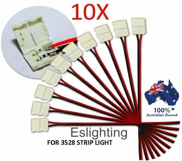 10X LED STRIP LIGHT CONNECTOR SMD 3528 3014 SINGLE 2 WIRE 8MM PCB BOARD ADAPTOR