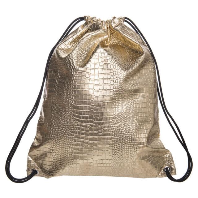 Gold Draw String hiny Hiking Gym Bag Backpack School Bookbags String Bag