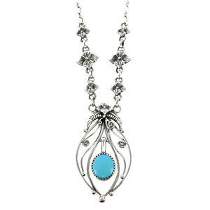 Turquoise-Set-in-Sterling-Silver-Floral-Leaf-Stelring-Pendant-Necklace