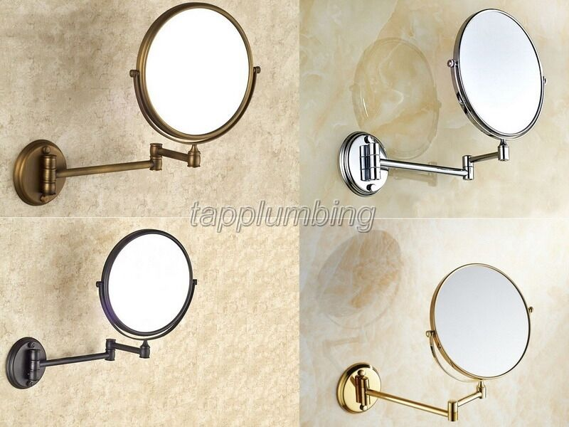 Brazo Doble ampliar Espejo de baño Espejo de aumento para maquillaje baño montado en la parojo