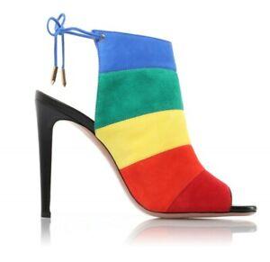 Women-039-s-Ladies-Stiletto-Candy-Sandals-Lace-Up-Suede-Match-Color-Retro-Shoes-New