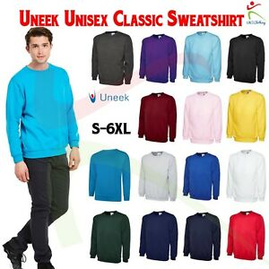 Uneek-Unisex-Classic-Sweatshirt-Crew-Neck-Mens-Plain-Jersey-Sweater-Jumper-TOP