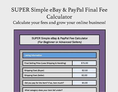 Super Simple Ebay Paypal Final Fee Calculator Selling Microsoft Excel Free Ebay