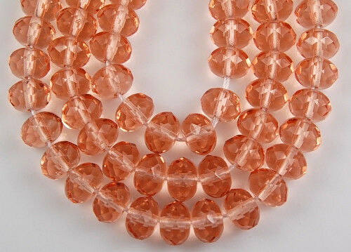 25 Czech Pink Faceted Fire Polished Rondelle Loose Glass Beads Craft 6x9mm