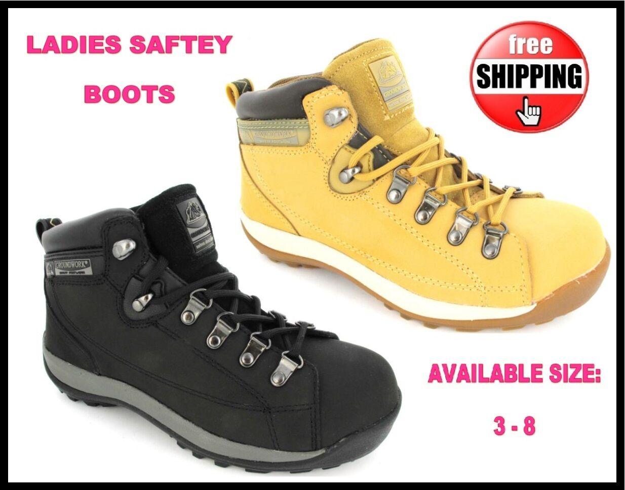 Mujer Seguridad Ligero Botas Negro Miel Puntera de 3-8 acero Zapatillas Talla 3-8 de 7ac1c0