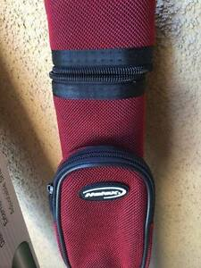 Brand New in Box Billiard Cue Case Red Halex pool stick case strap oval shape