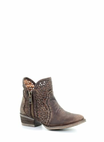 Corral Women/'s Western Round Toe Leather Short Boots Brown Cutout Q5019