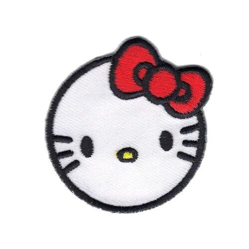 124-I Kids Childrens Small Cat Hello Kitty Logo Embroidered Iron On Patch