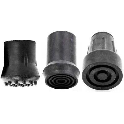 Grey Rubber Walking Stick Ferrule Steel Insert Crutch Bottom Tip Reinforced