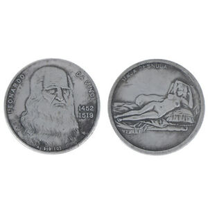 1-Pc-Da-Vinci-Piece-commemorative-antique-imitation-cuivre-plaque-argent