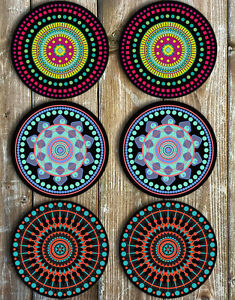 Mandala Drink Coasters Black Background Neoprene Set Of 6 - Gift Ideas