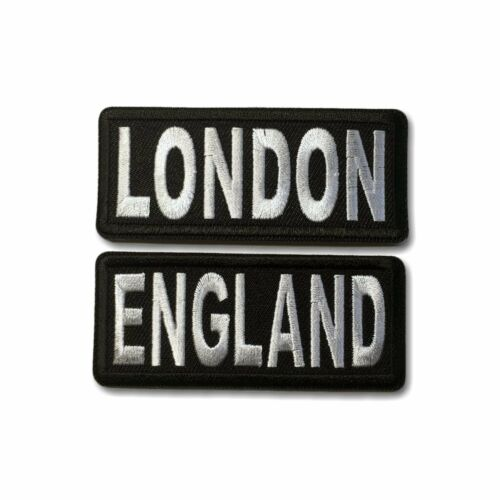 """Embroidered 3/"""" London /& England Sew or Iron on Patch Biker Patch Set"""
