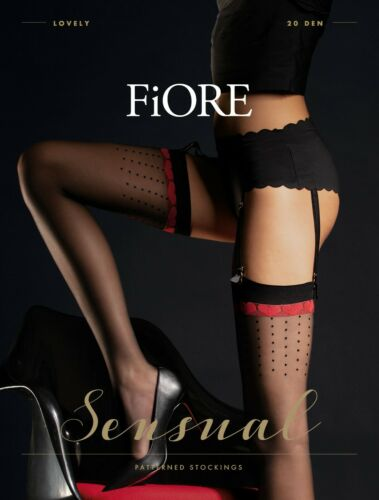 Fiore Suspender Stockings LOVELY with Red Hearts Top Pattern 20 Denier Sheer New