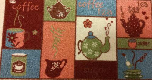 "COFFEE /& TEA by WW non skid back 18/"" x 31/"" TEXTILE KITCHEN RUG"