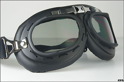 Goggle Eye Wear Sunglasses Matt Black Frame UV Smokey Lens for open face Helmet
