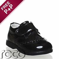 Baby Boys Patent Black Shoes, Boys Formal Shoes, Boys Fastening, Flexible Sole