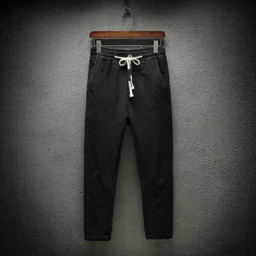 Hommes Lin Coton Sarouel Doux Ample Pantalon raccourci Baggy Cordon Casual