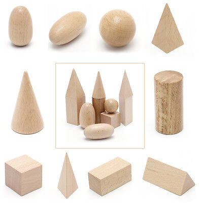 10Pcs Wooden Geometric Solids Shapes Learning Resources Cognitive Toys With Bag