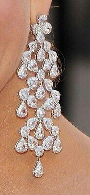 65ct Pear long Chandelier Earrings Cz 925 Sterling Silver White Wedding Jewelry