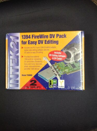 NEW still Sealed Intek21 TK9908 3-Port 1394 Adapter with DV Software and Cable