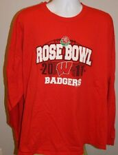 WISCONSIN BADGERS Red LS Cotton Tee / T-Shirt Men's 3XL 2011 ROSE BOWL