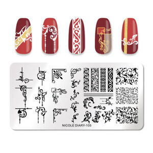 NICOLE-DIARY-Rechteck-Nagel-Schablone-Mixed-Stainless-Steel-Stamp-Templates-105