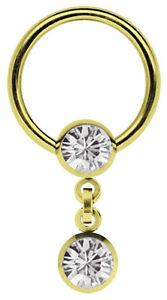 Body Piercing Jewelry Jewelry & Watches Initiative Brust Piercing Ring Bcr 1,6mm Vergoldet Mit 2 Zirkonia Kugeln In 6mm Und Kette