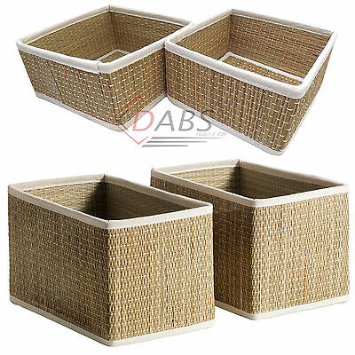 Ikea Salnan 2 Pack of Handmade Seagrass Storage Baskets / Bathroom Organiser Box