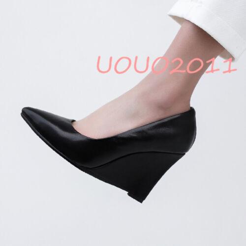 pumps 2019 a Slip Scarpe Punta Heels Wedge New Womens On punta casual Sz Leather Ol 8FY8rq
