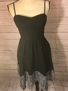 American-Eagle-Outfitter-XS-Black-Dress-New-With-Tags-Flowy-Black-White-Pattern