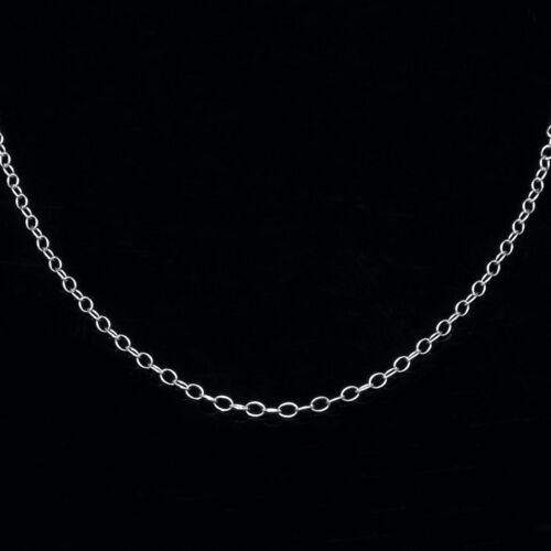 """ITALY 14K Solid White Gold Oval Cable Link Chain Necklace for Pendant 13/""""-22/"""""""