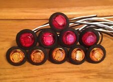3/4'' Round Red/Amber Led Lights Truck/Trailer Clearance Marker Lights Qty 10