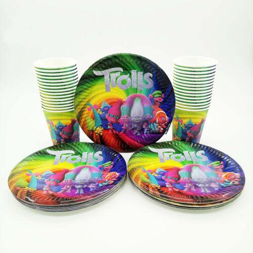 24pcs Trolls fête d/'anniversaire Set Table Décorations papier Plaque /& Tasse Faveurs