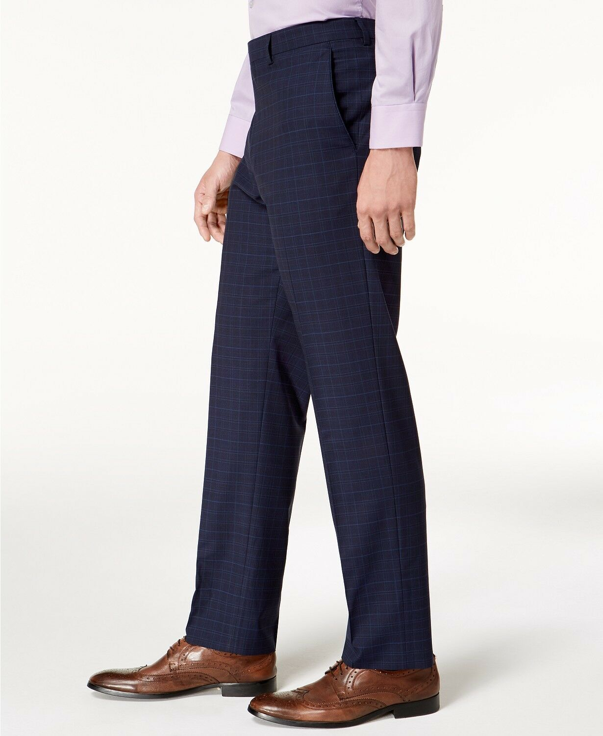 VINCE CAMUTO Men's blueE PLAID SLIM FIT TROUSERS FLAT FRONT DRESS PANTS 31W