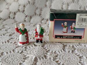 Holiday Treasures Porcelain Mr. & Mrs.Santa Claus Figurines