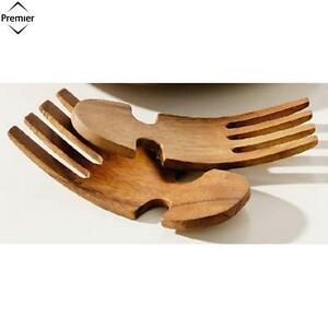 Premier Housewares Monkey Pod Salad Servers Hand Shaped ...