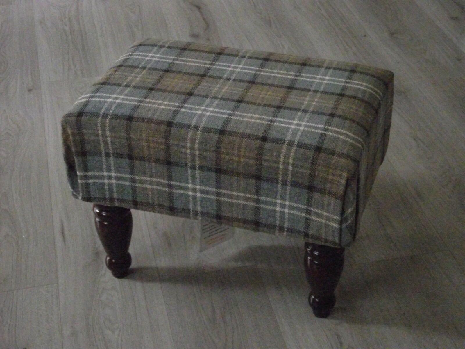New Large Lana Tartan box style footstool dark wood turned legs upholsterot top