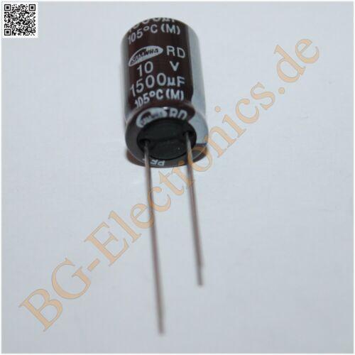 10 x 1500µF 1500uF 10V 105° RM5 Elko Kondensator Capacitor Samwha E-Cap 10pcs