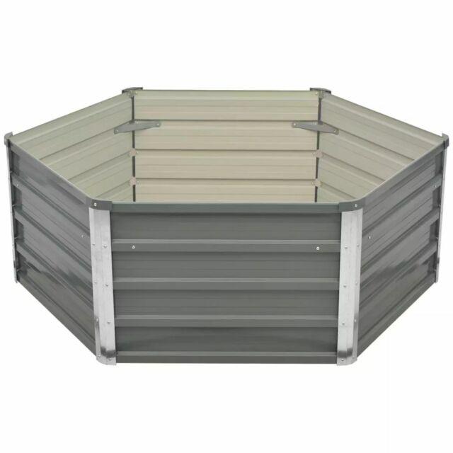 vidaXL Raised Garden Bed 129x129x46cm Galvanised Steel Grey Planter Pot Box