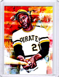 2021 Roberto Clemente Pirates Baseball 1/1 ACEO Fine Art Print Card By:Q