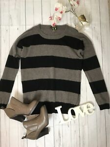 Jaeger-Size-S-8-10-brown-black-striped-jumper-70-wool-30-cashmere-soft-sleeve