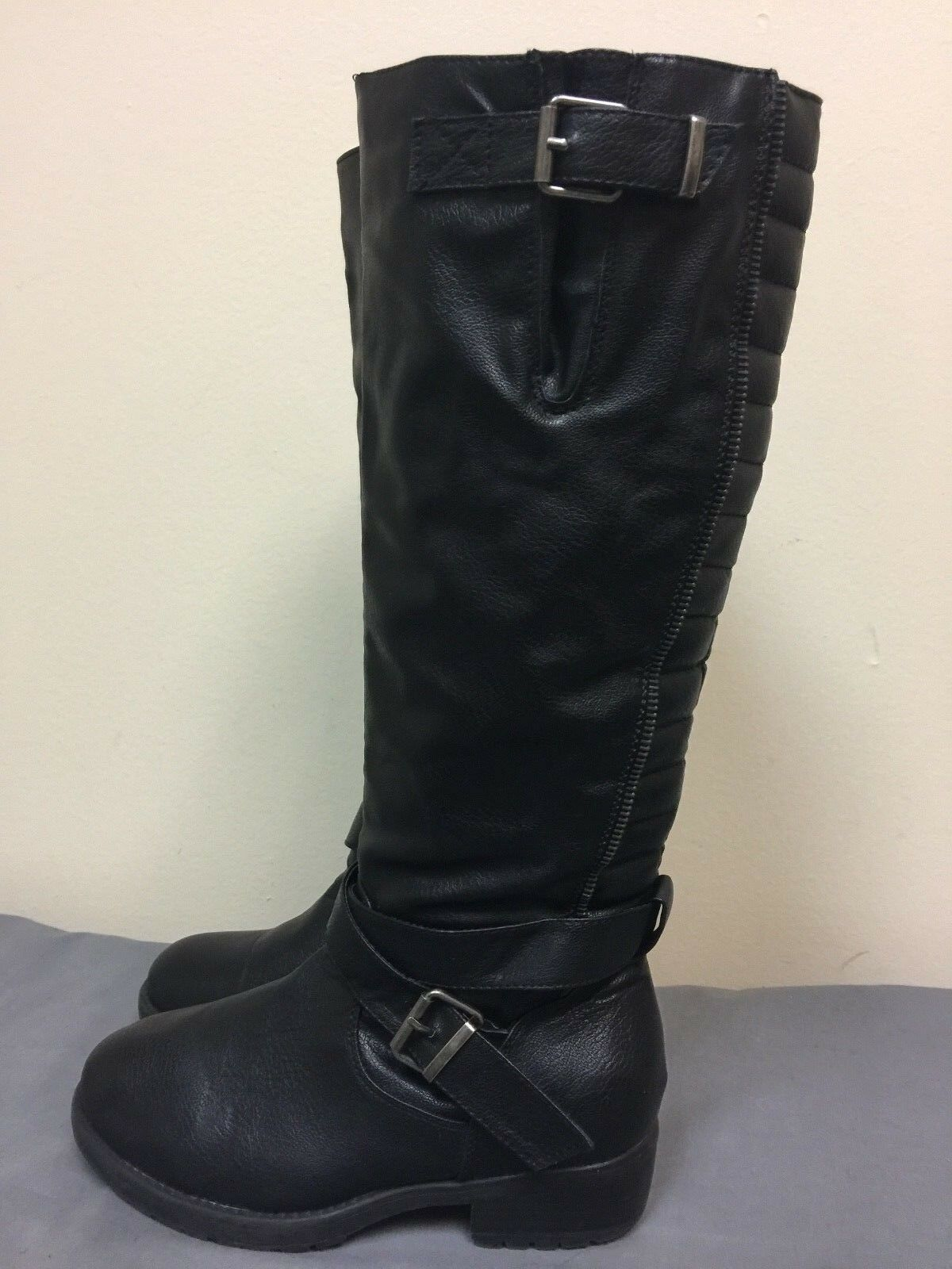 New Look women Black man made knee high  Boots Size EUR 37 UK 4 US 6