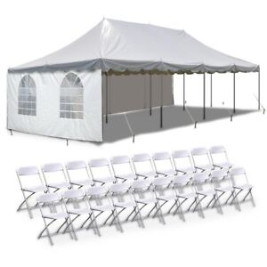 Party-Wedding-Canopy-Package-20x40-039-Enclosed-Pole-Tent-With-20-Folding-Chairs
