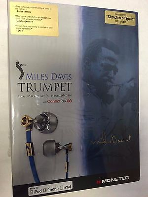 New Authentic Monster Miles Davis Trumpet In-Ear Only Headphones  Blue/Silver