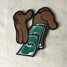 HAND HANDS MONEY EMBROIDERY IRON ON PATCH BADGE #BROWN