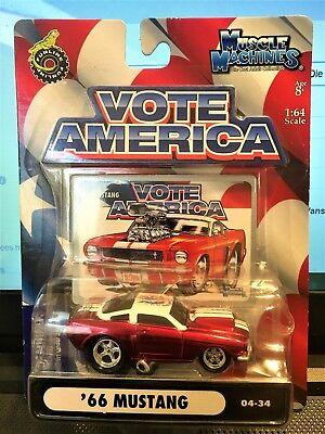 1//64 Muscle Machines Vote America #66 Mustang Blue 04-28 Die Cast Car Model